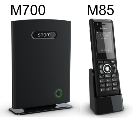 Snom M85 rugged cordless phone and M700 base