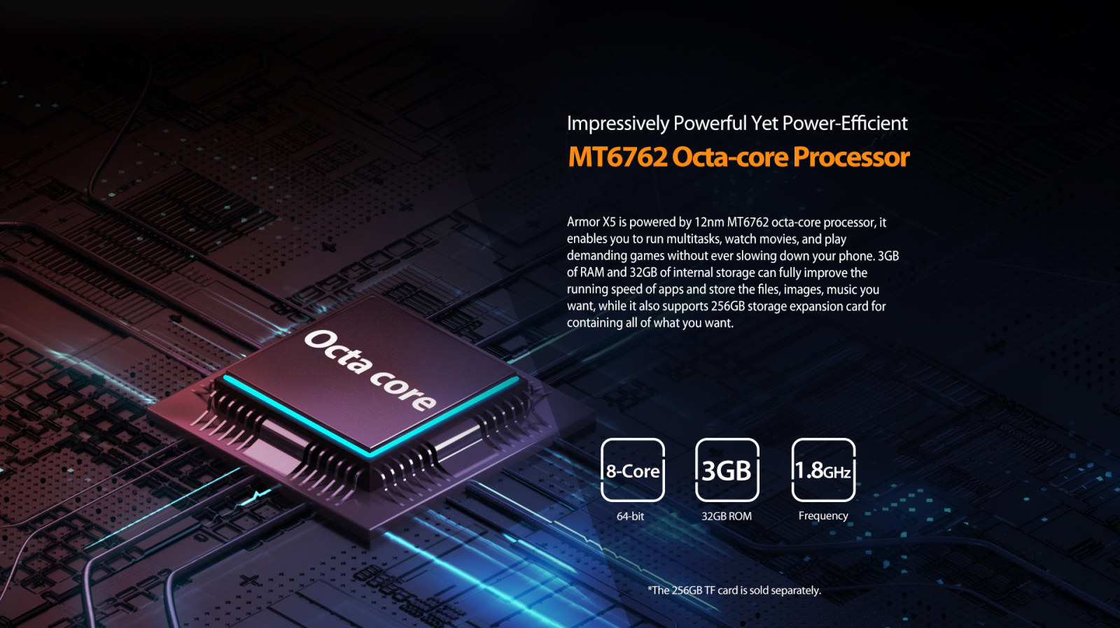 8 core 64 bit 1.8 GHz processing speed