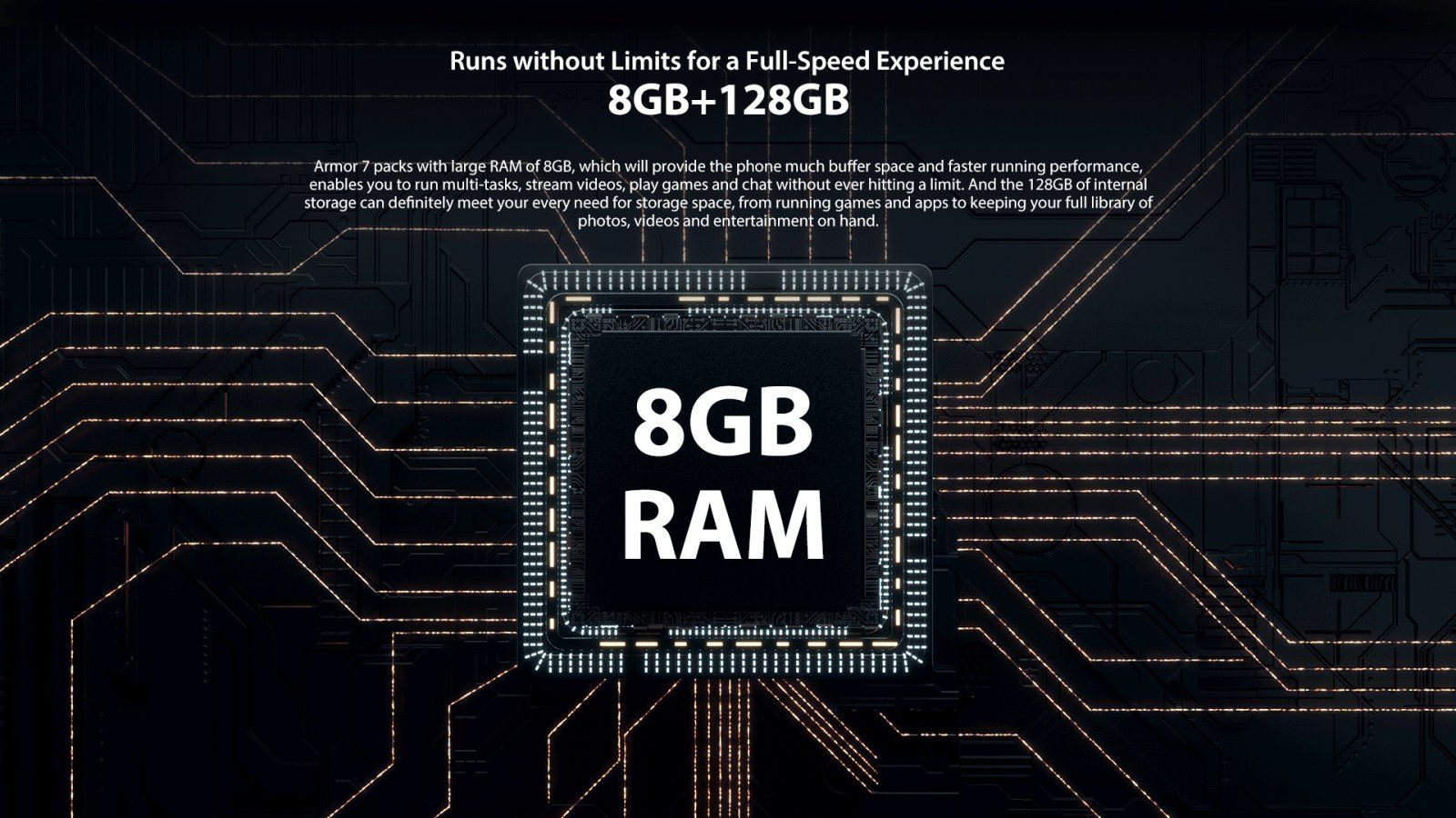 8 GB fast RAM plus 128GB flash ROM