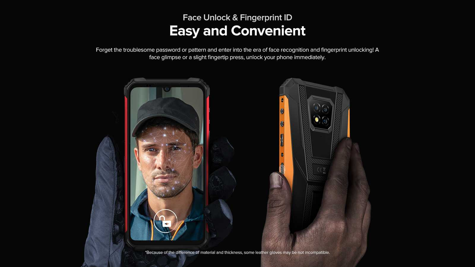 Armor 8 fingerprint and facial recognition