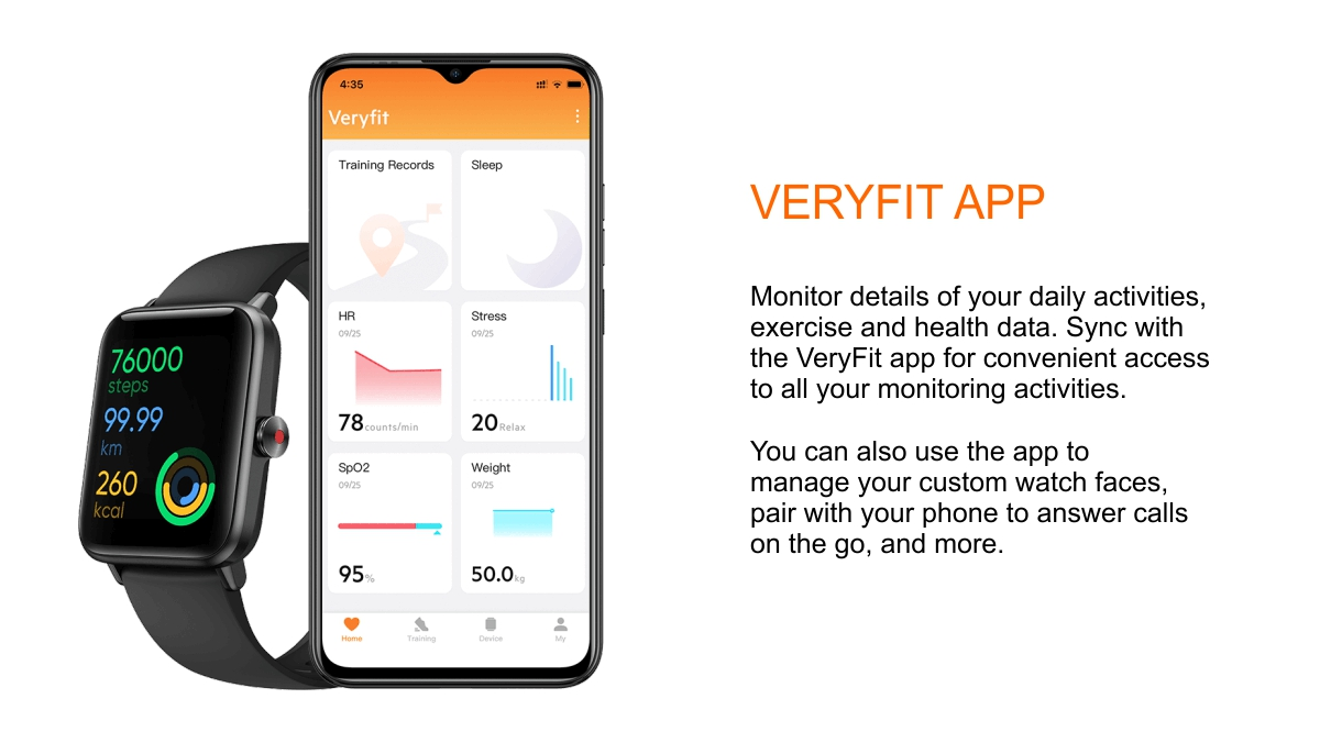 veryfit app and cell phone pairing