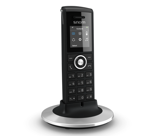 Snom M25 Cordless Office IP Phone - Handset with charging base config screen
