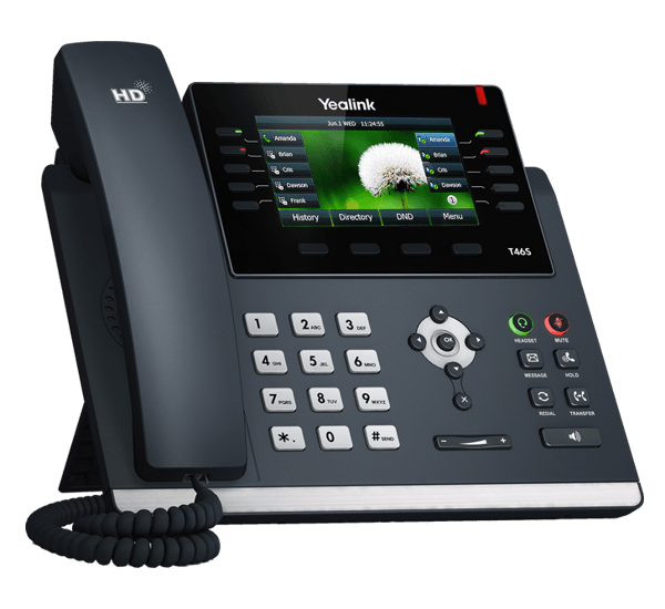 YeaLink T46S ip desk phone - expandable left front view