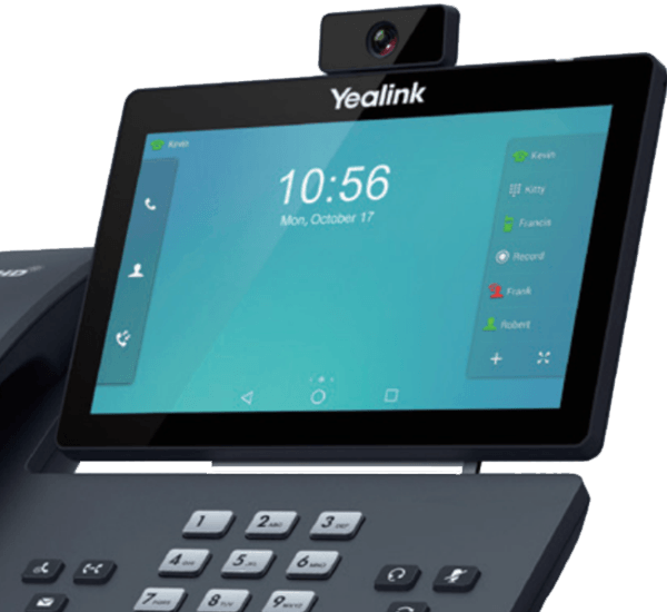 Yealink T58A shown with optional camera