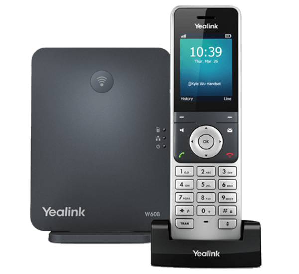 YeaLink W60P Cordless IP Phone and base front view