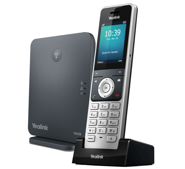 YeaLink W60P Cordless IP Phone and base unit side view