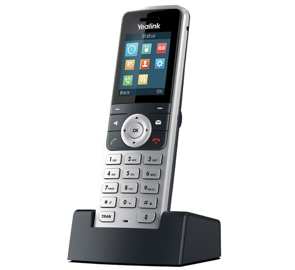W53H cordless handset on charging cradle  right side view