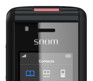snom M85 close-up red led indicator and screen
