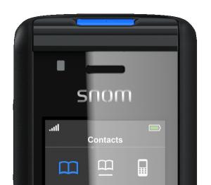 snom M85 close-up blue led indicator and screen