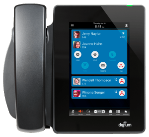 Digium D80 tablet style IP Phone desk top view with handset