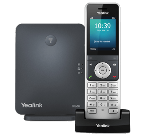 W60B SIP DECT base station with handset - sold separately front view