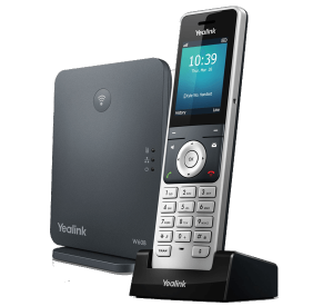 W60B SIP DECT base station with handset - sold separately front right view